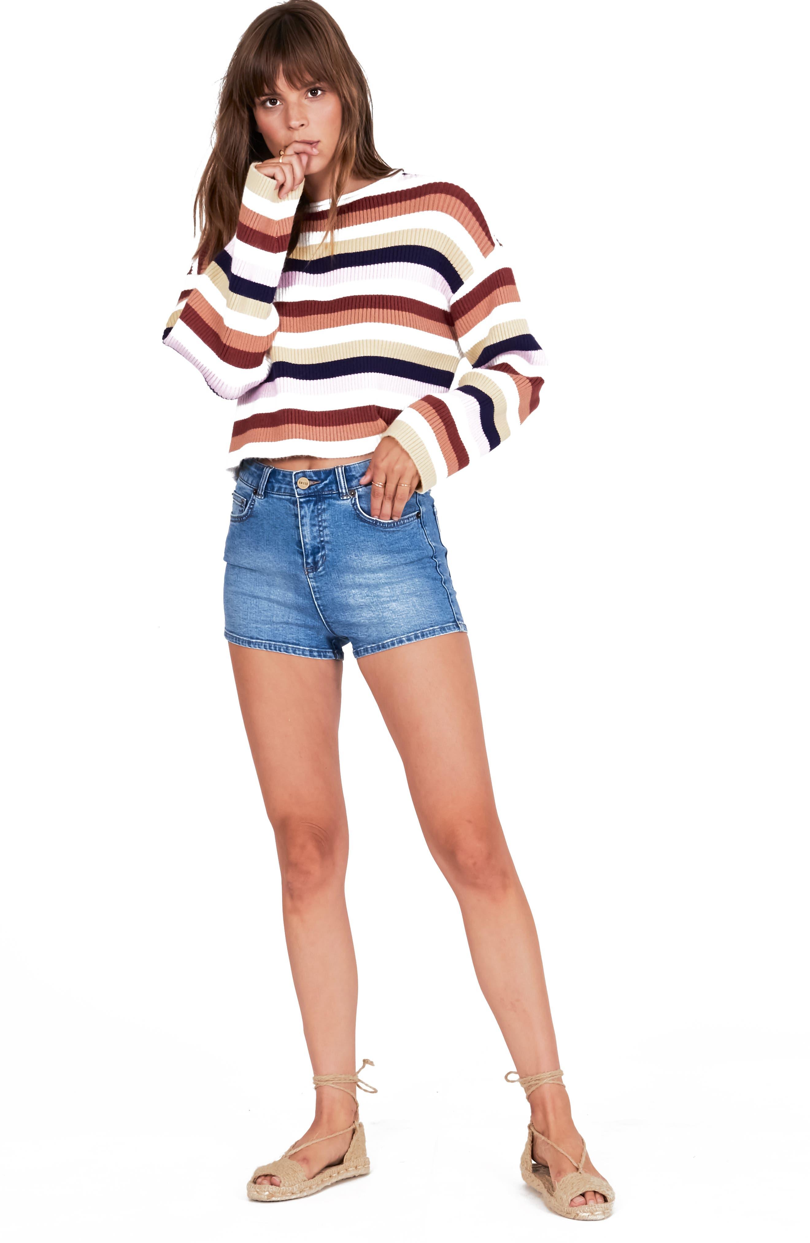 ,                             Bahia Stripe Crop Sweater,                             Alternate thumbnail 6, color,                             100