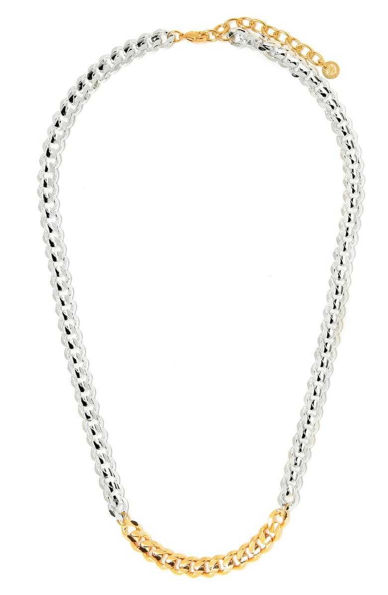TESS + TRICIA Two-Tone Curb Chain Necklace, Main, color, SILVER