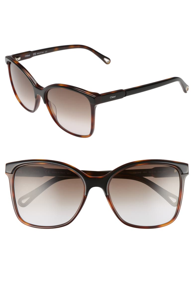 CHLOÉ 59mm Brow Bar Sunglasses, Main, color, 004