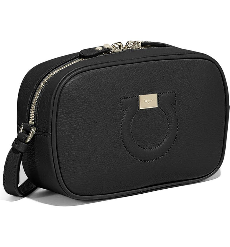 SALVATORE FERRAGAMO Gancio City Leather Camera Bag, Main, color, 001