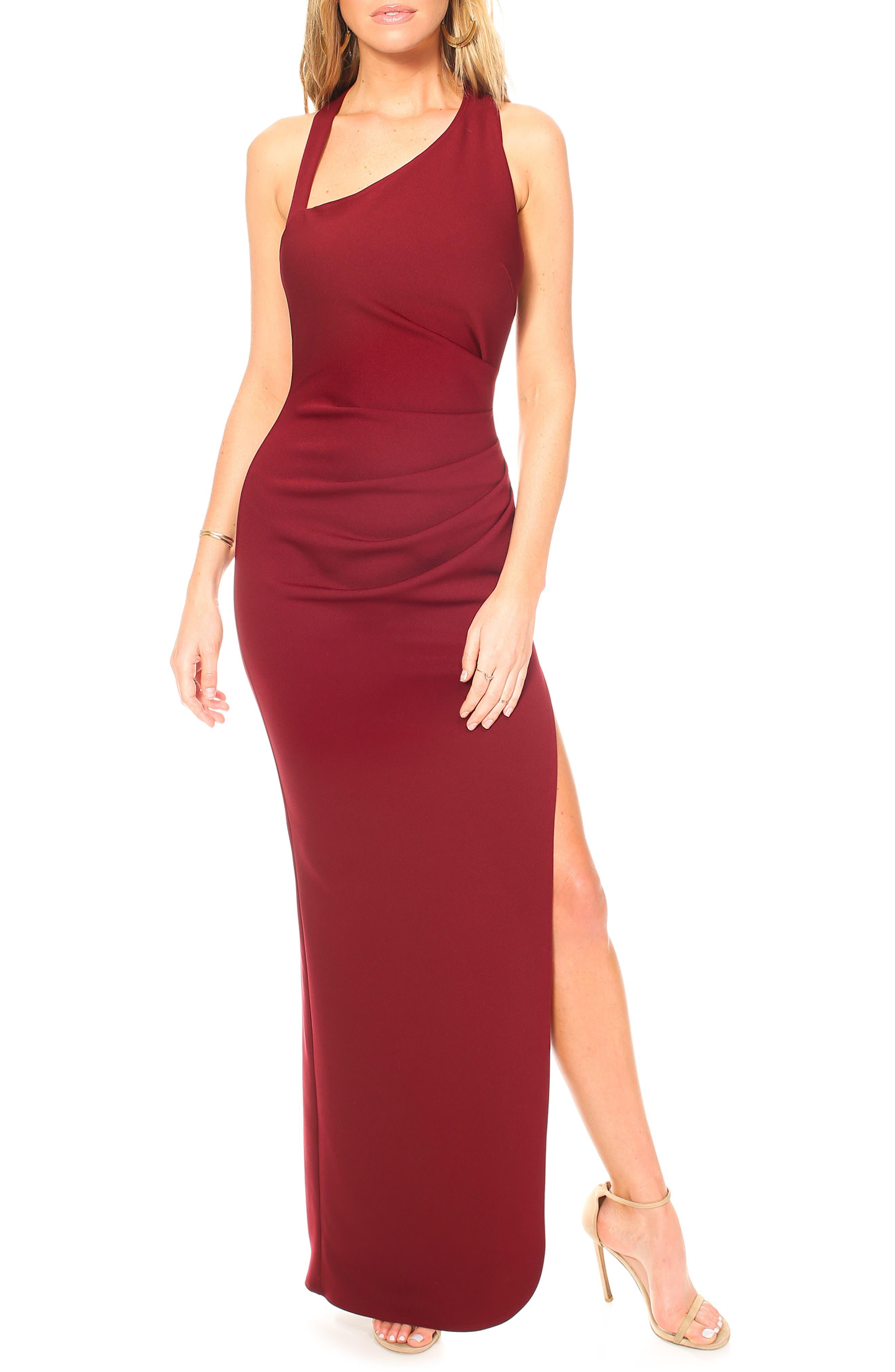 Katie May Teaser Asymmetrical Halter Gown, Burgundy