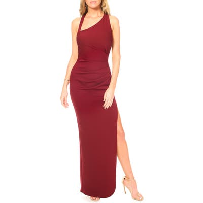 Katie May Teaser Asymmetrical Halter Gown, Burgundy