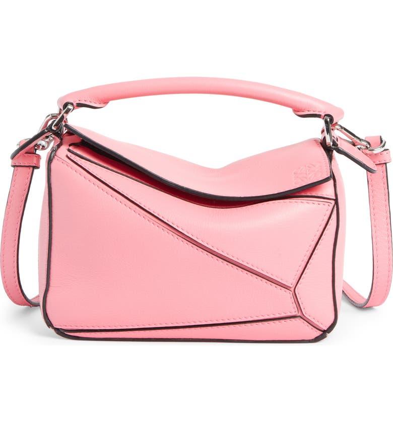 LOEWE Puzzle Mini Calfskin Leather Bag, Main, color, WILD ROSE