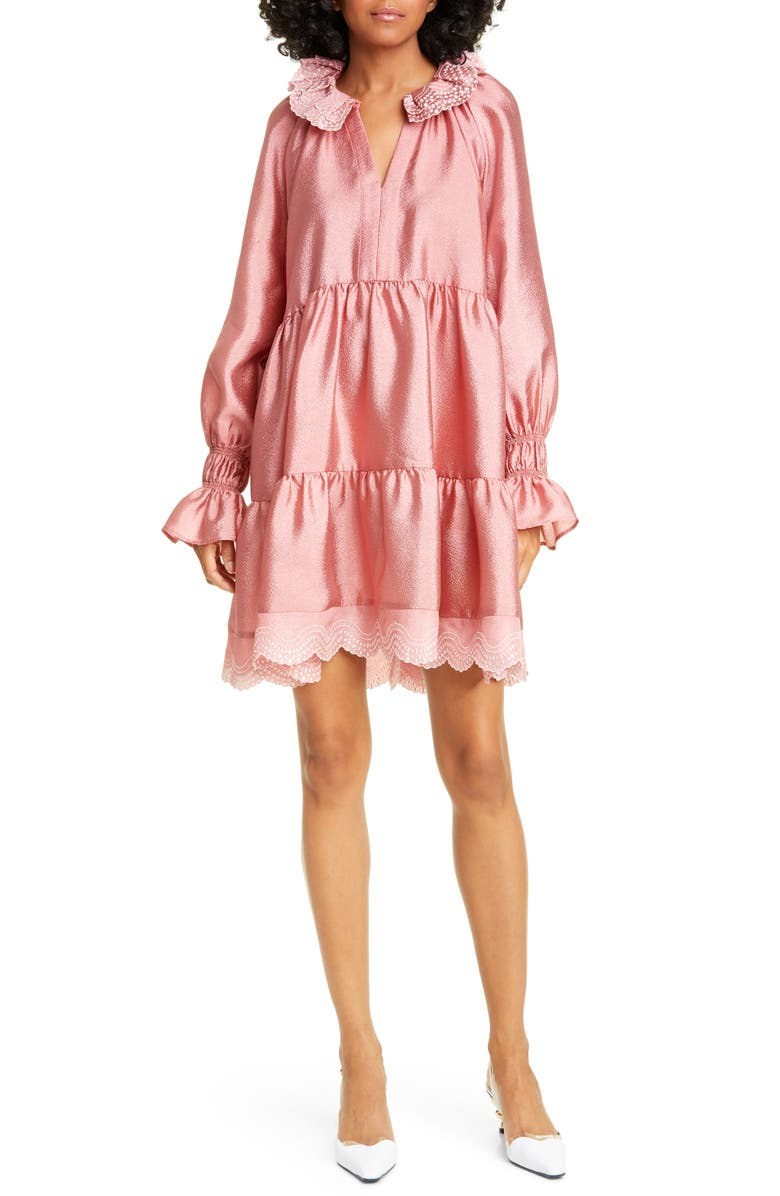 STINE GOYA Daki Tiered Long Sleeve Hammered Satin Dress, Main, color, ROSE