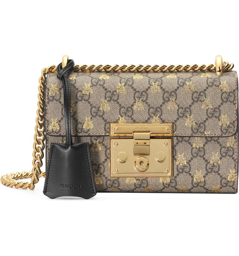 GUCCI Small Padlock GG Supreme Bee Shoulder Bag, Main, color, 250