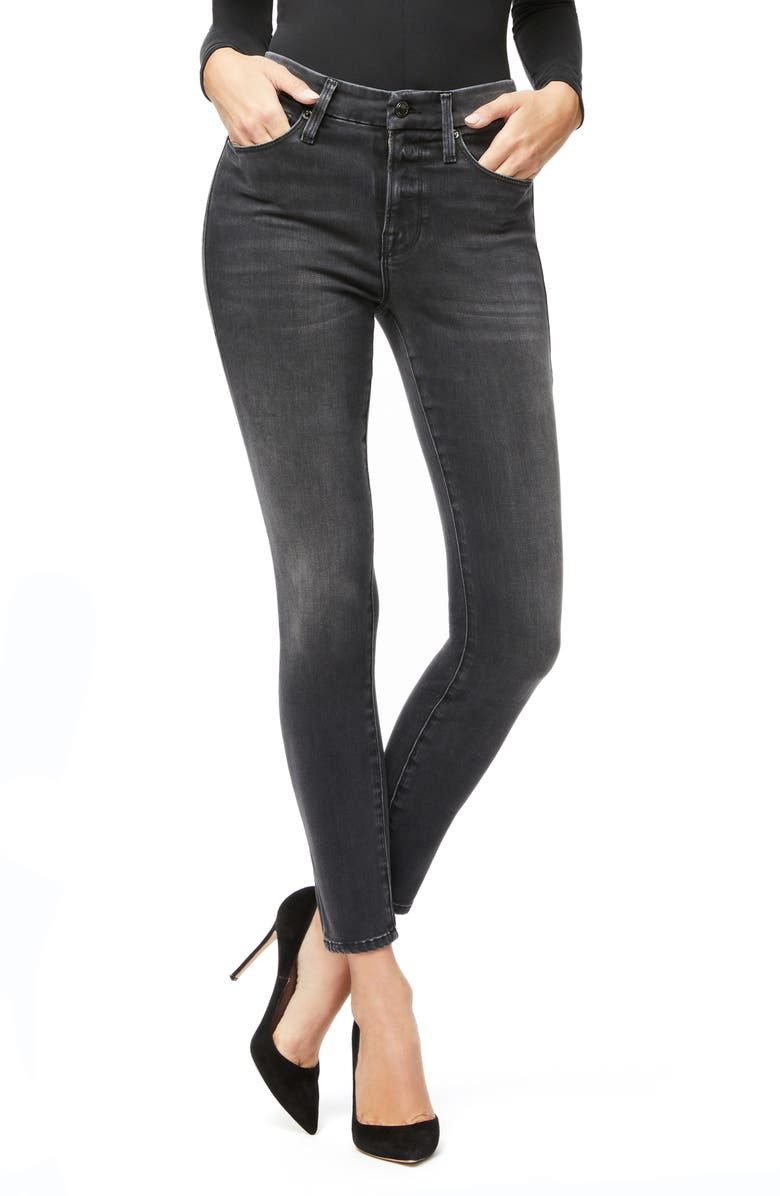 GOOD AMERICAN Good Legs High Waist Crop Skinny Jeans, Main, color, 001