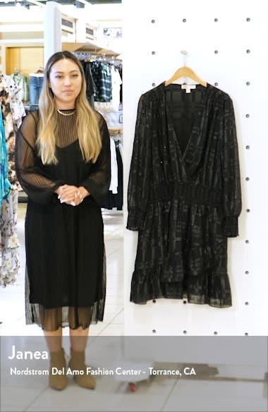 Metallic Plaid Ruffle Long Sleeve Dress, sales video thumbnail
