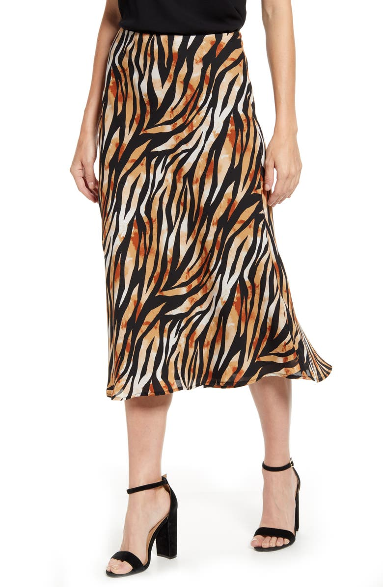GIBSON x Hot Summer Nights Roselyn Pleated Maxi Skirt, Main, color, ABSTRACT ZEBRA