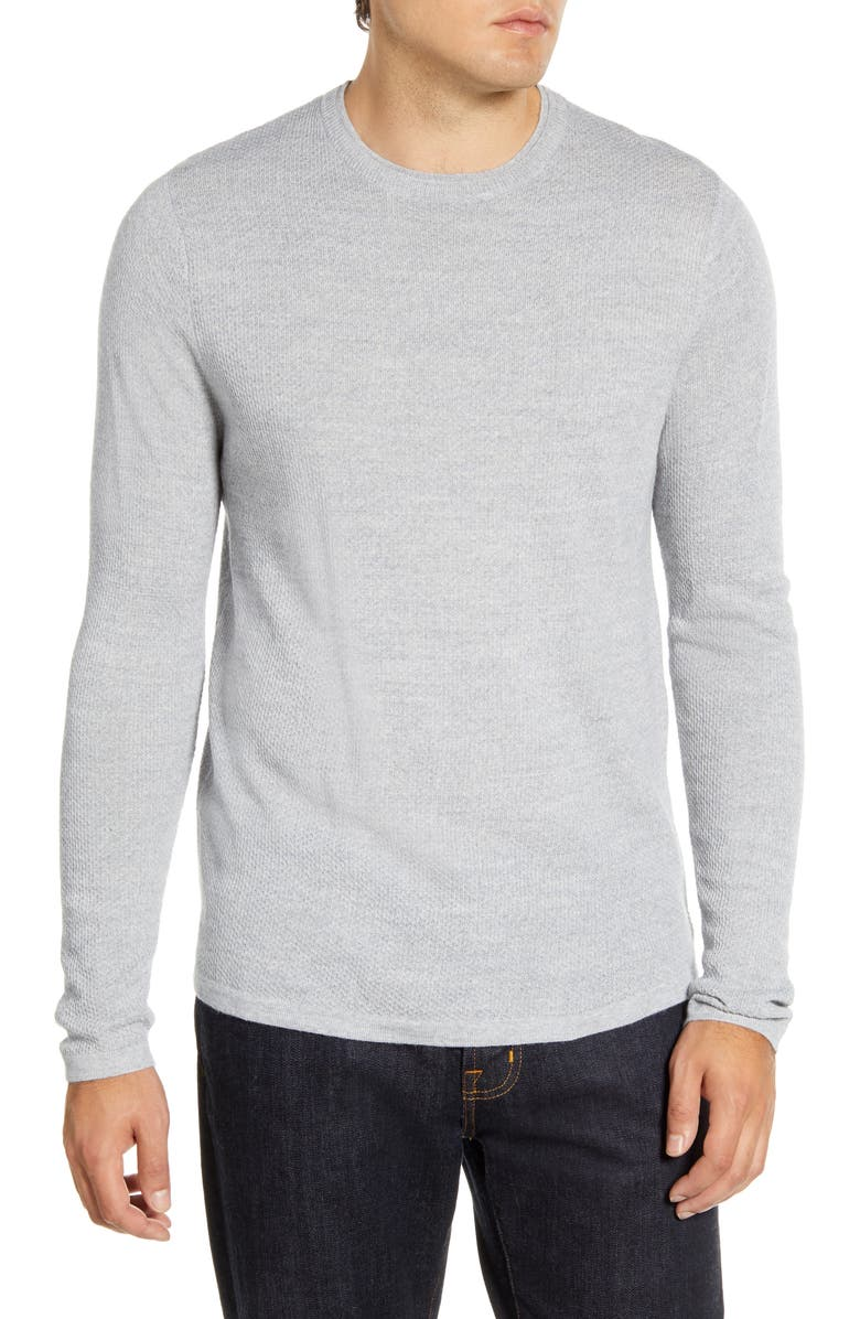NORDSTROM MEN'S SHOP Wool Blend Crewneck Sweater, Main, color, GREY CLOUD