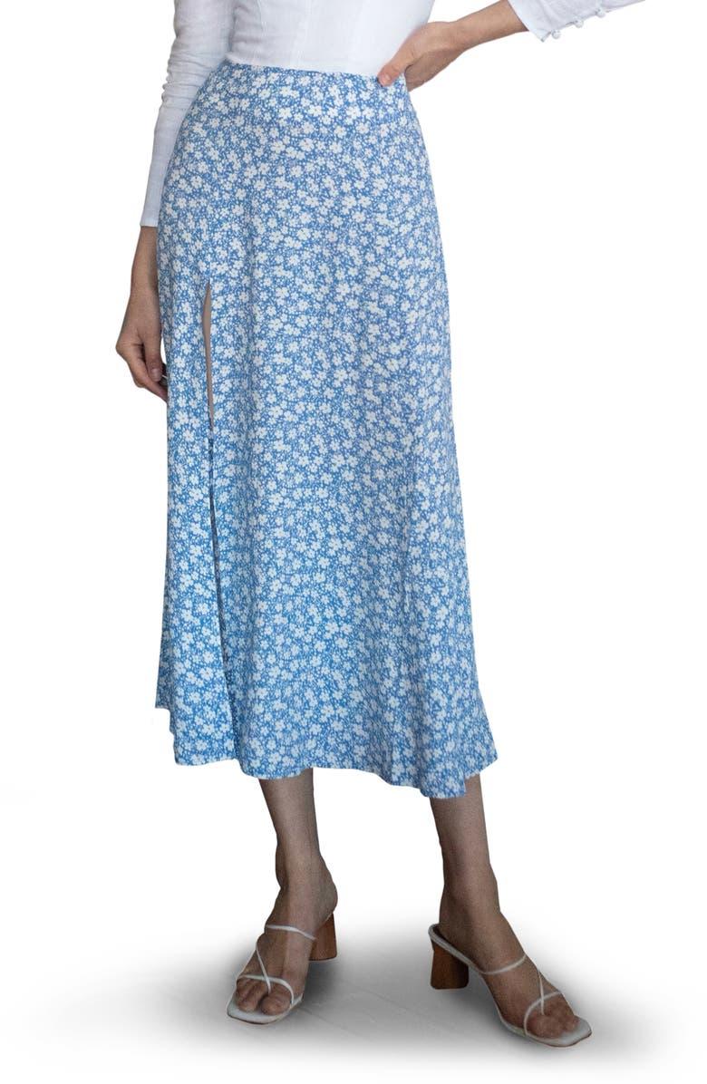 REFORMATION Zoe Side Slit Midi Skirt, Main, color, AZZURRO