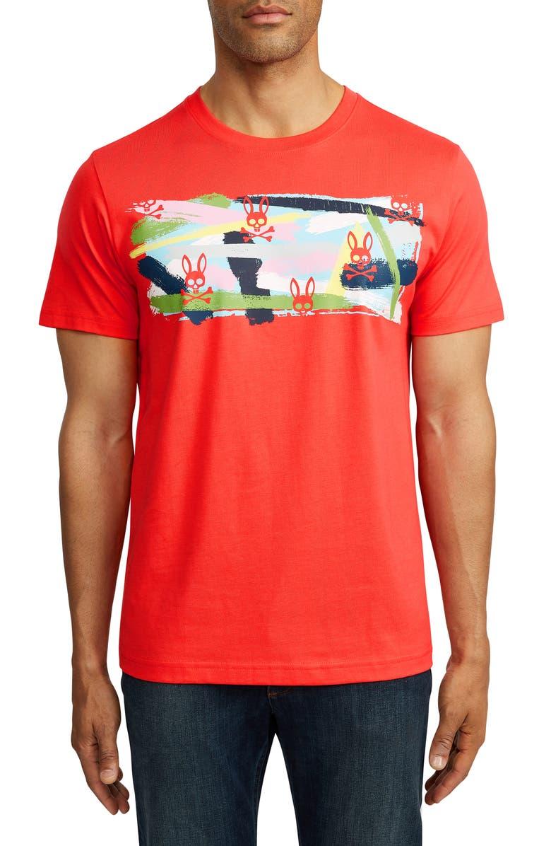 PSYCHO BUNNY Graphic T-Shirt, Main, color, 667 CORALLO