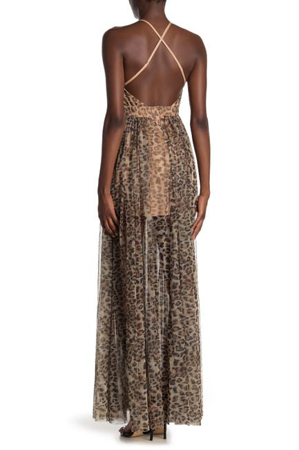 Image of Meghan LA Enchanted Garden Leopard Print Maxi Dress