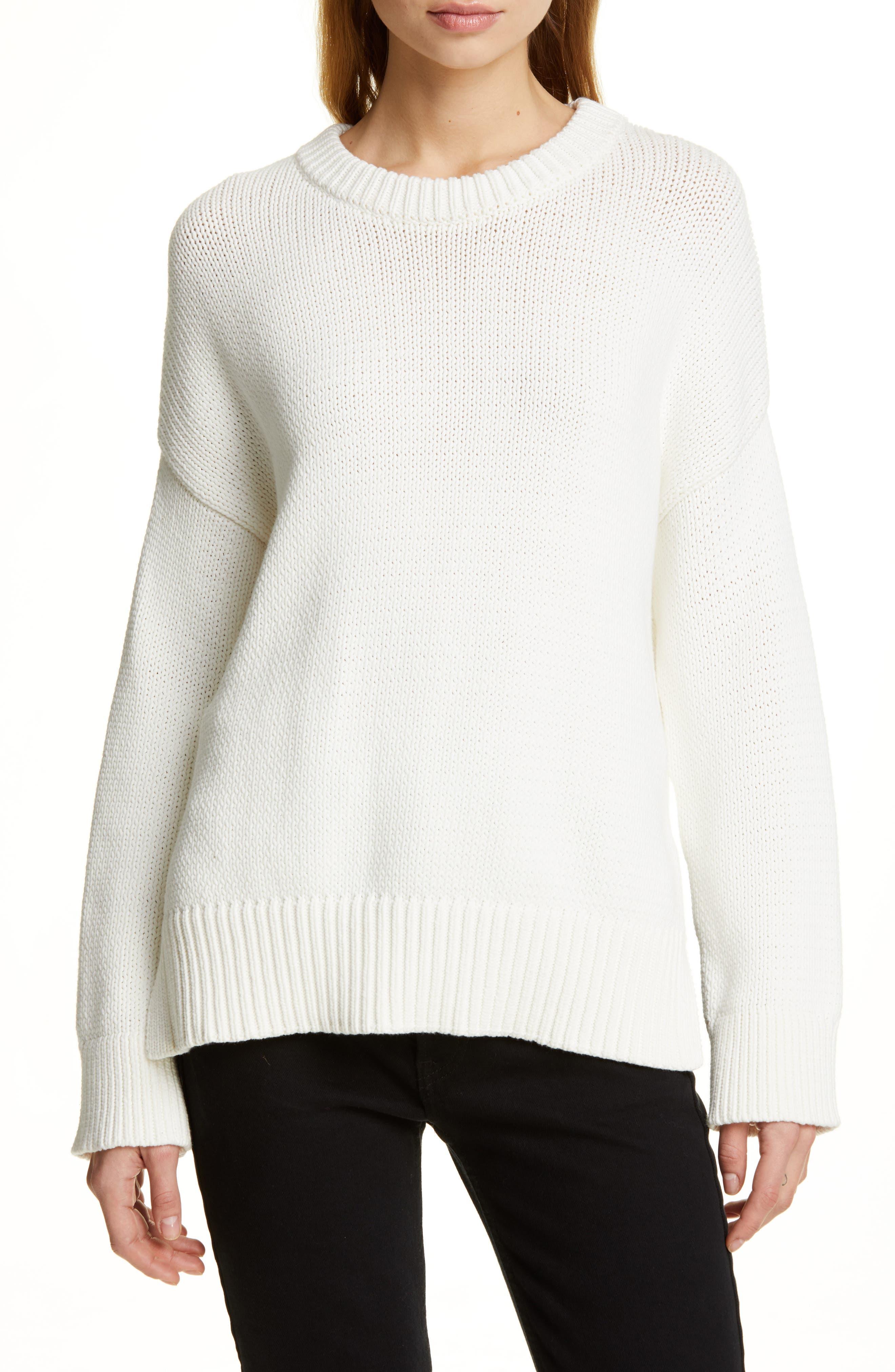 Chunky Crewneck Cotton Blend Sweater