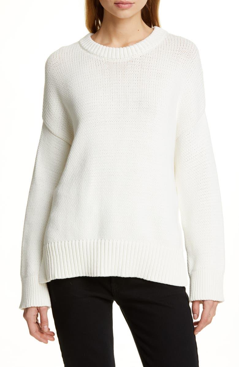 JENNI KAYNE Chunky Crewneck Cotton Blend Sweater, Main, color, IVORY