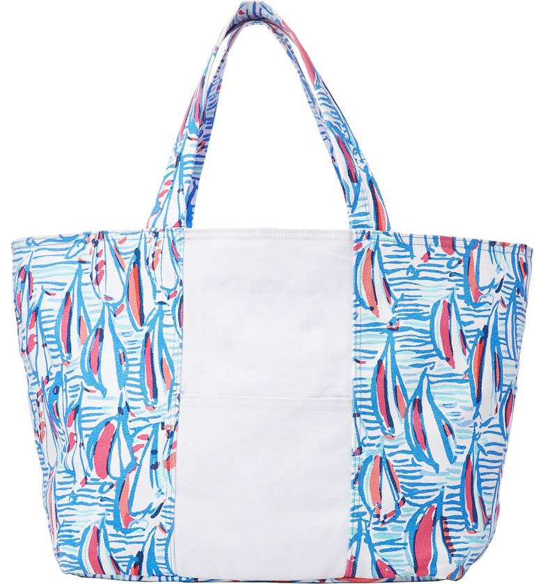 LILLY PULITZER<SUP>®</SUP> Print Canvas Beach Tote, Main, color, 400