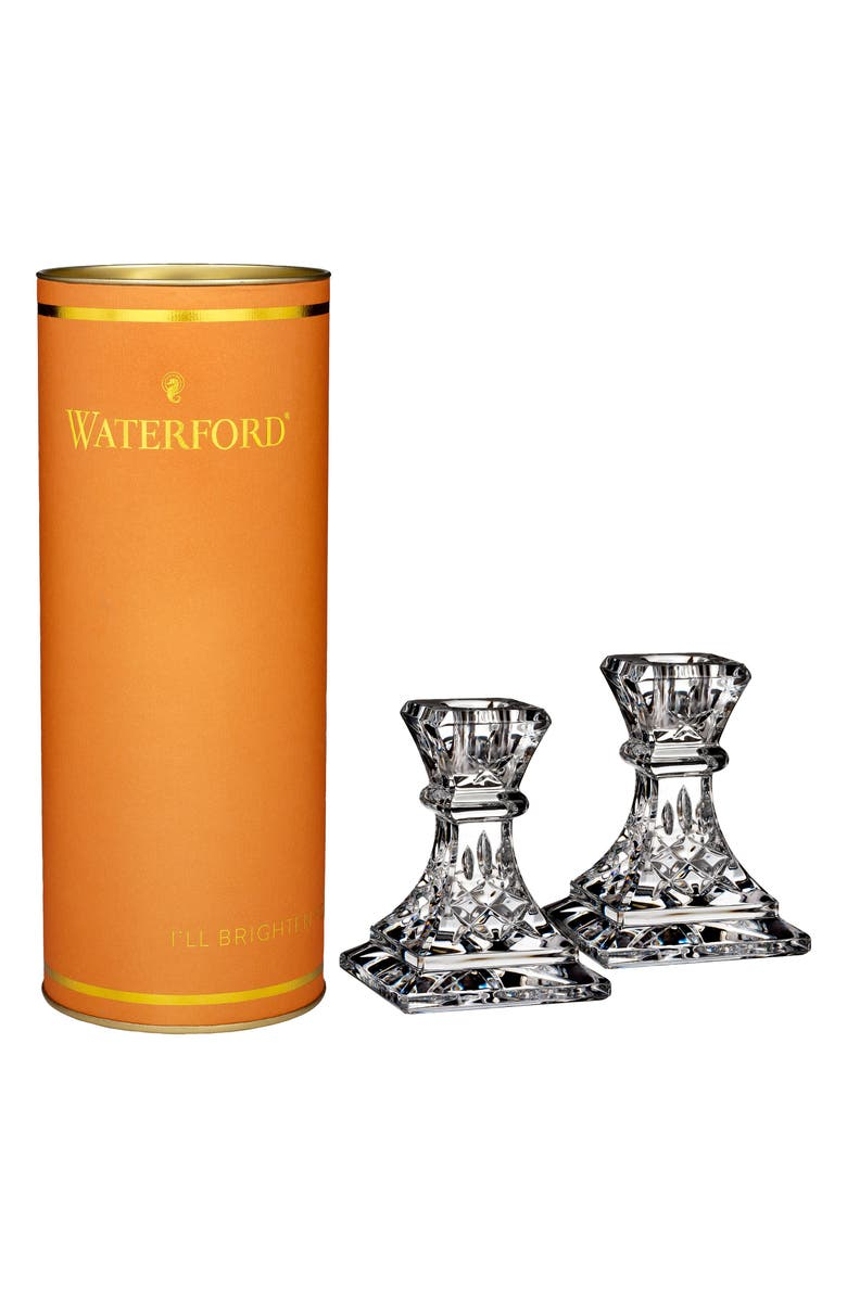 WATERFORD Giftology Lismore Set of 2 Lead Crystal Candlesticks, Main, color, CRYSTAL