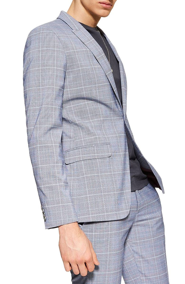 TOPMAN Skinny Fit Suit Jacket, Main, color, BLUE MULTI