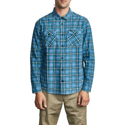 Rvca Panhandle Plaid Long Sleeve Flannel Button-Up Shirt, Blue