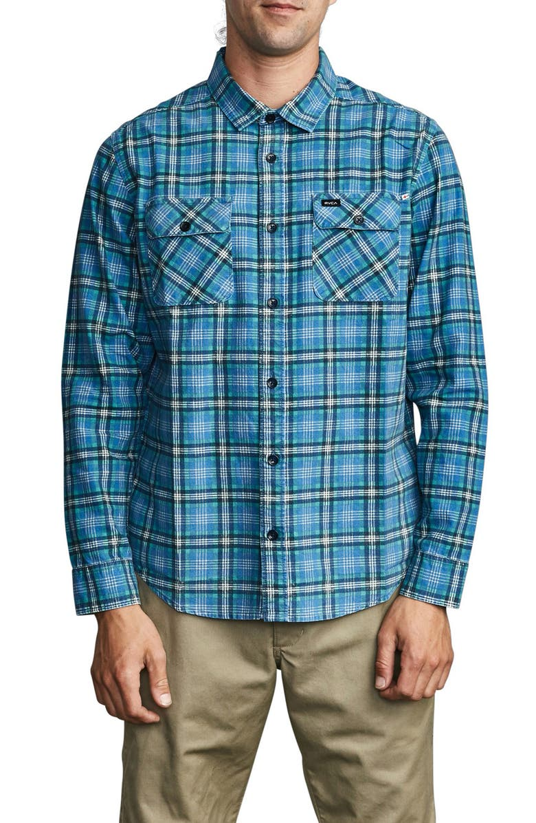 RVCA Panhandle Plaid Long Sleeve Flannel Button-Up Shirt, Main, color, NAUTICAL BLUE