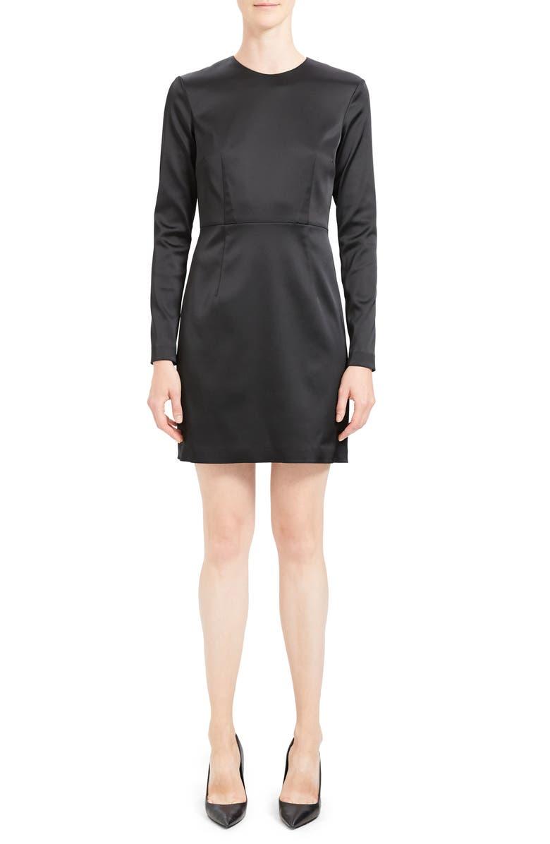 THEORY Long Sleeve Sheath Dress, Main, color, 001