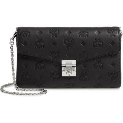 Mcm Millie Medium Calfskin Leather Wallet On A Chain - Black