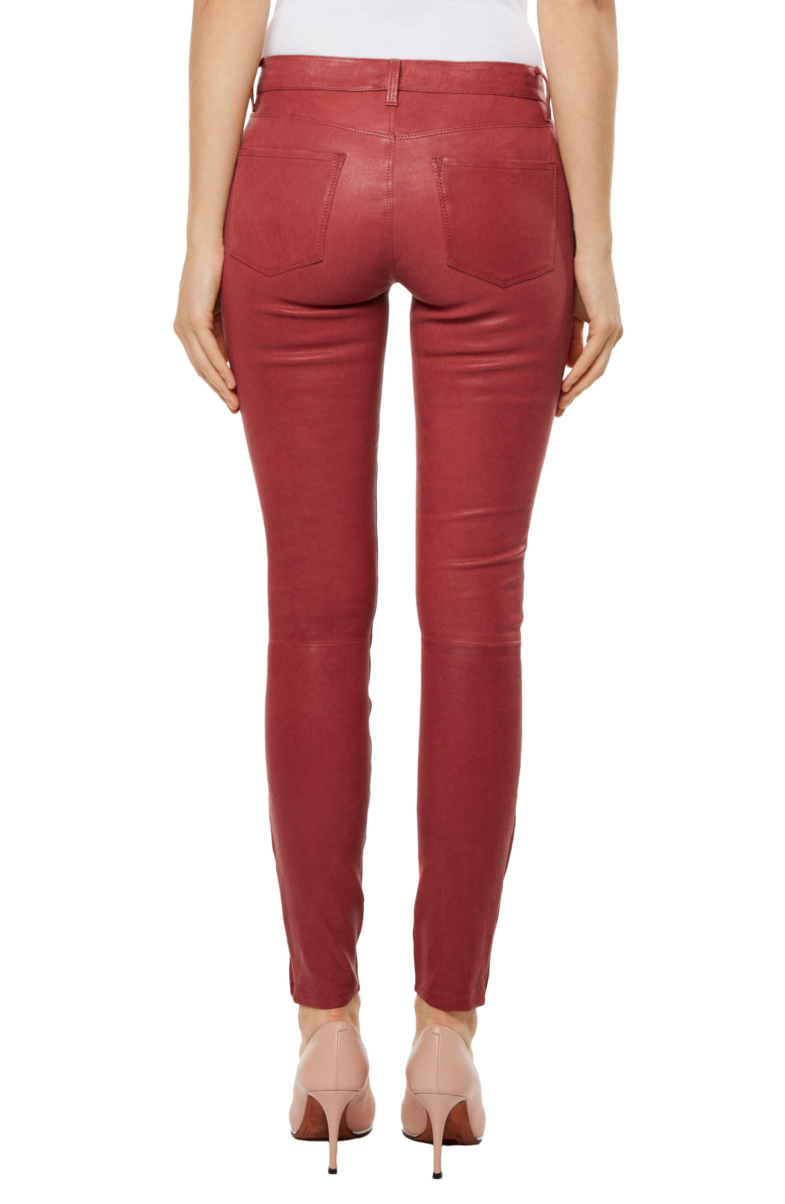 ,                             '8001' Lambskin Leather Pants,                             Alternate thumbnail 27, color,                             601