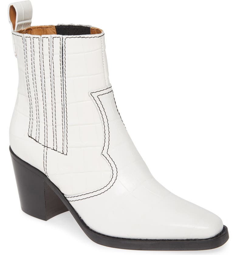 GANNI Croc Embossed Western Boot, Main, color, BRIGHT WHITE