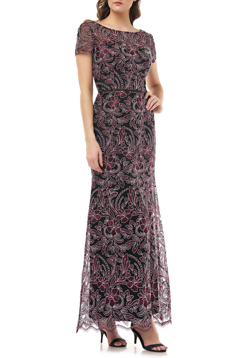 JS COLLECTIONS Embroidered Trumpet Gown, Main, color, CABERNET BLACK