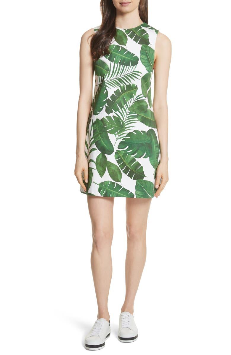 ALICE + OLIVIA Coley Print A-Line Dress, Main, color, 371