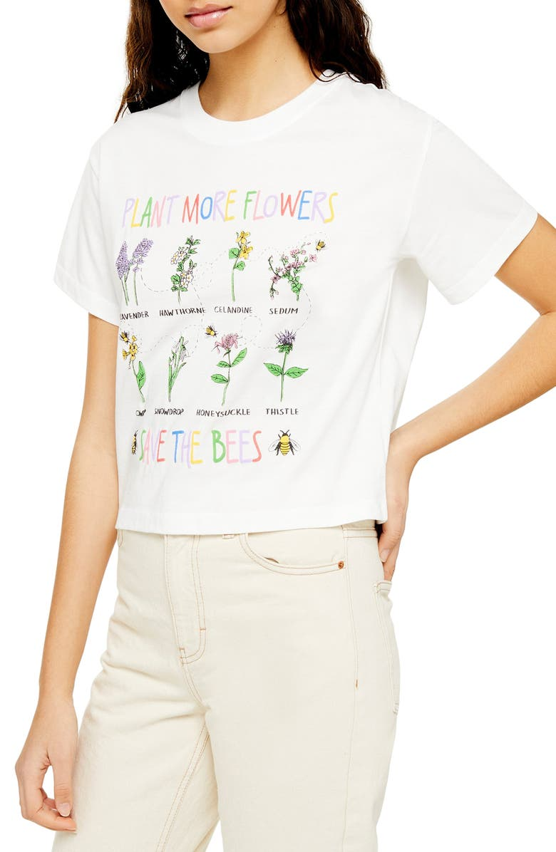 TOPSHOP By Tee & Cake Save the Bees Tee, Main, color, WHITE MULTI