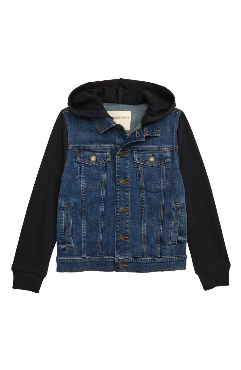 TUCKER + TATE Hooded Denim Jacket, Main, color, ADRIATIC WASH