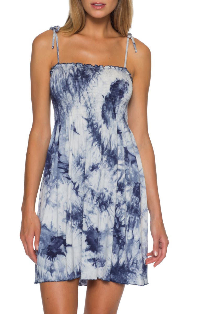 BECCA Tide Pool Convertible Cover-Up Dress, Main, color, NAVY