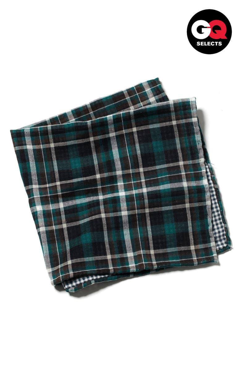 THE TIE BAR Plaid Cotton Flannel Pocket Square, Main, color, 300