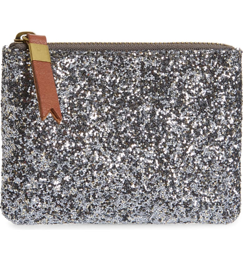 MADEWELL The Leather Pouch Wallet in Glitter, Main, color, 045