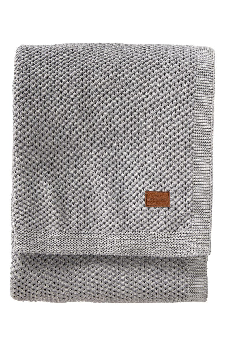 PENDLETON Two-Tone Knit Blanket, Main, color, GREY