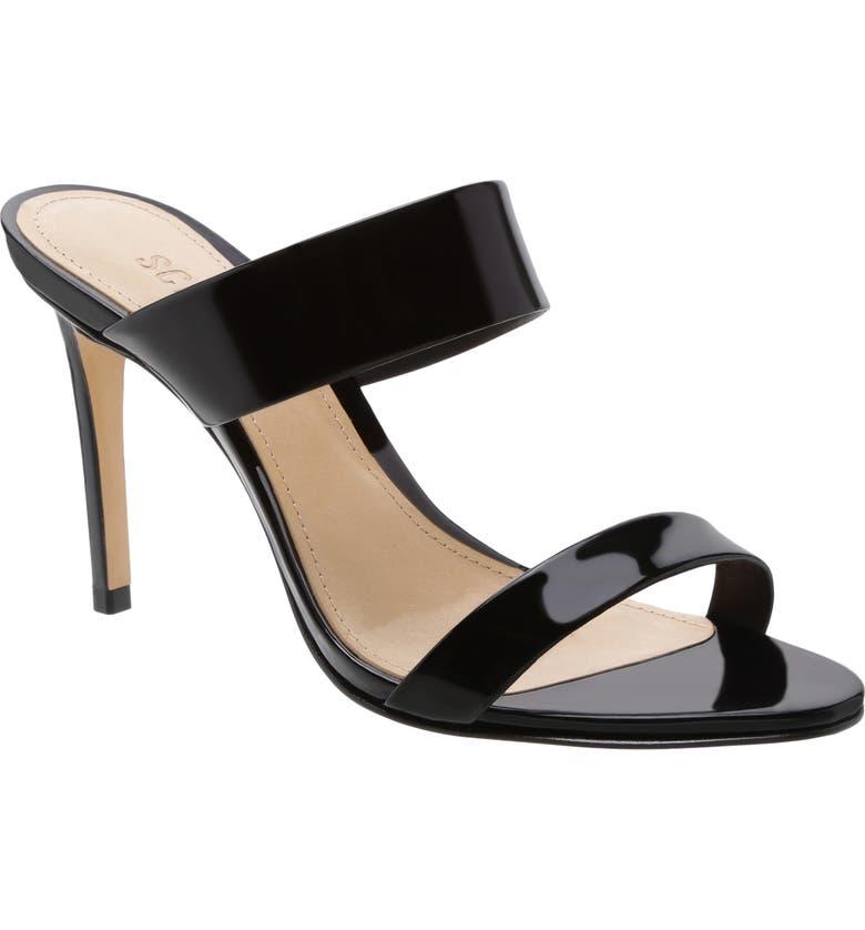 SCHUTZ Leia Stiletto Slide Sandal, Main, color, BLACK PATENT LEATHER