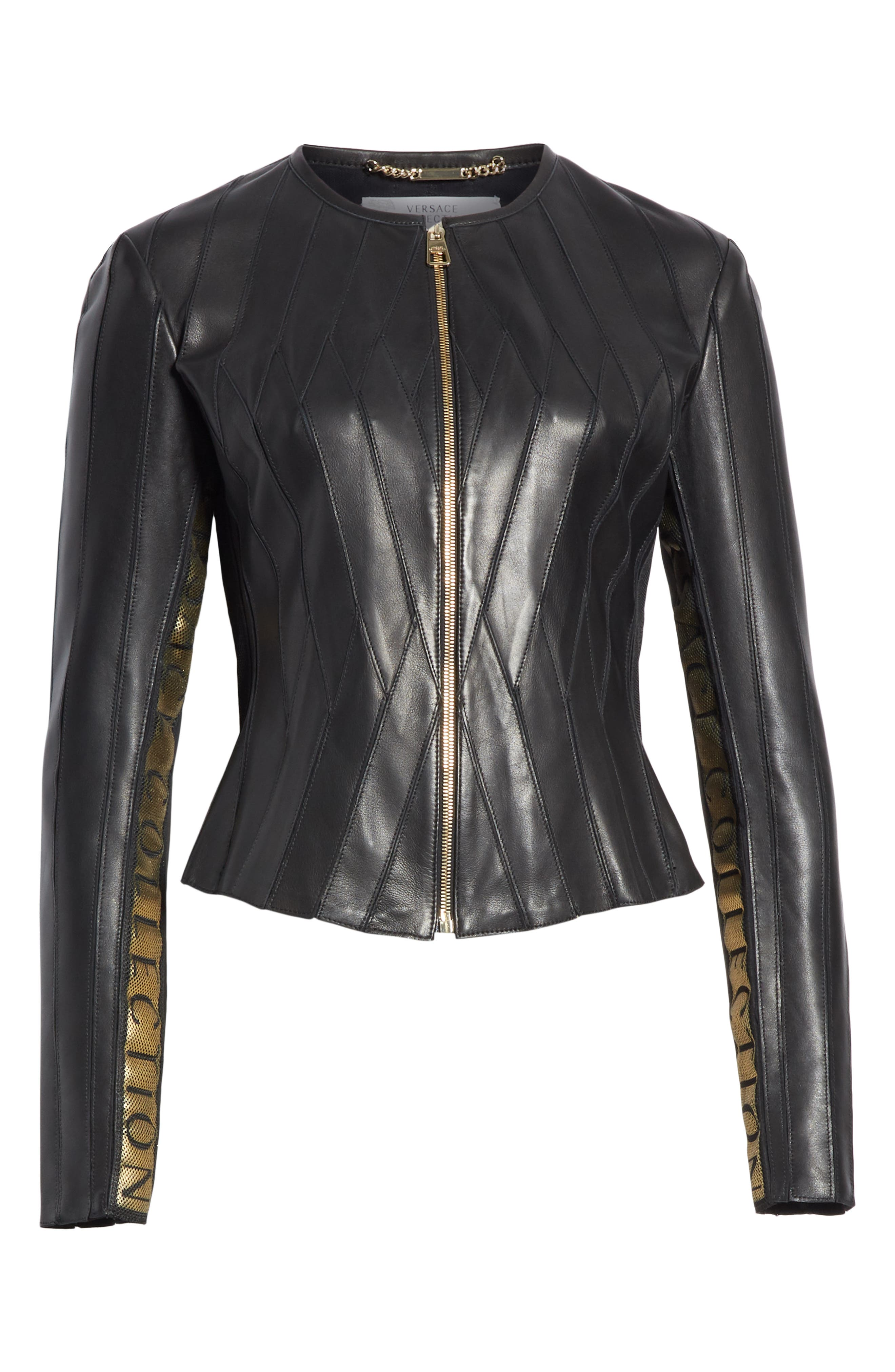 ,                             Logo Leather Jacket,                             Alternate thumbnail 6, color,                             BLACK