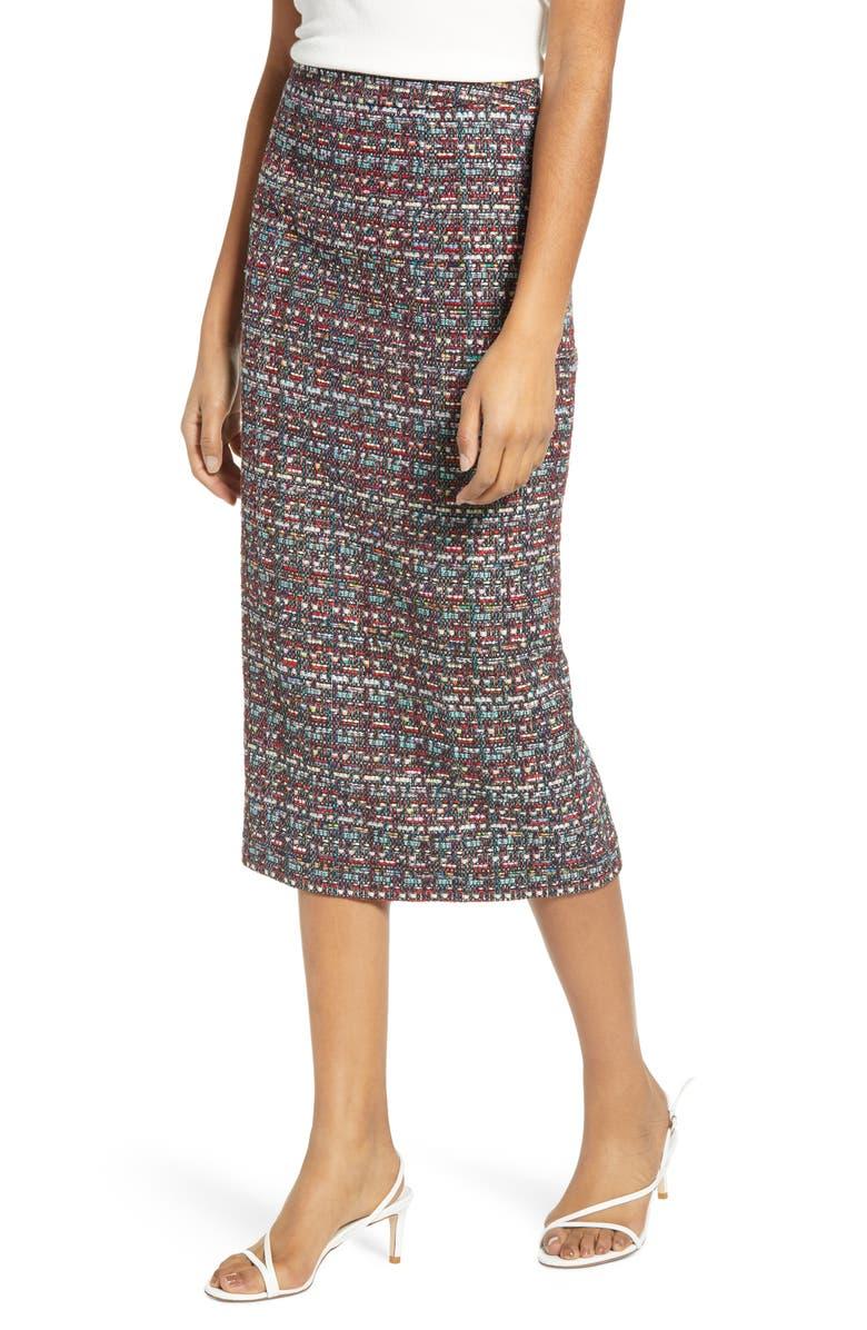 HALOGEN<SUP>®</SUP> Tweed Pencil Skirt, Main, color, BLACK MULTI PARADISE TWEED