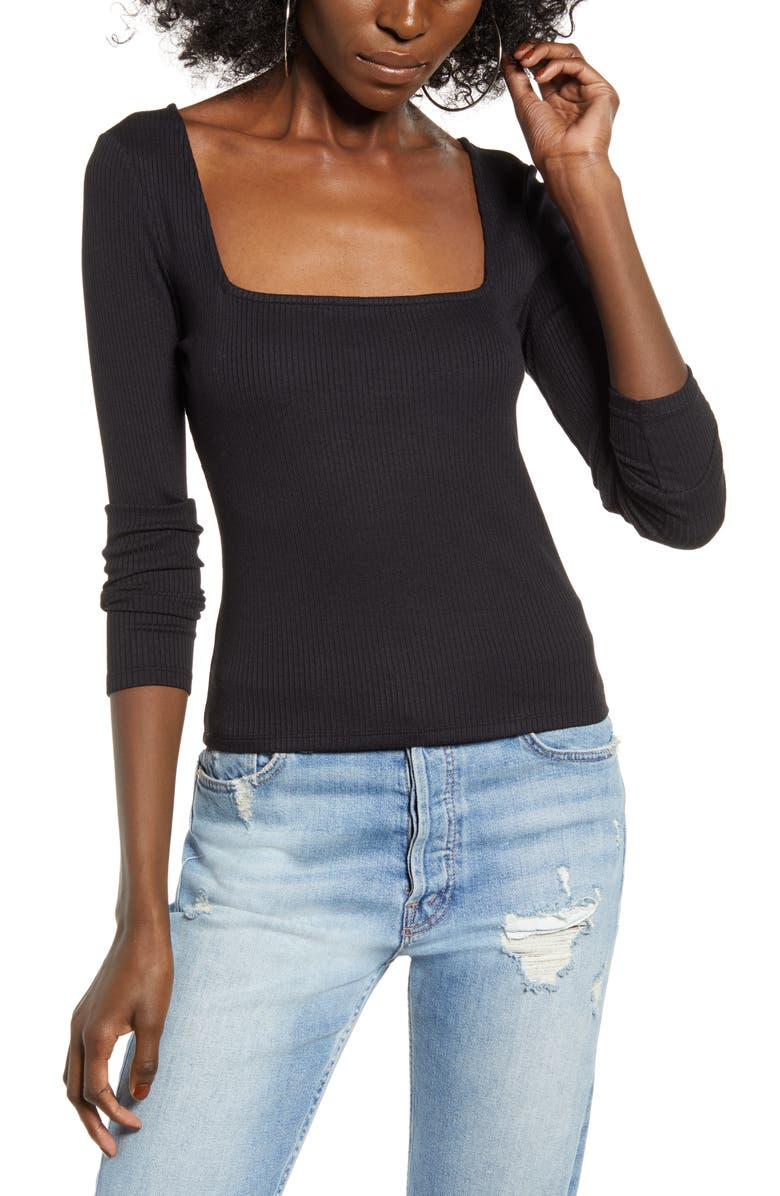 Ribbed Square Neck Top by Leith