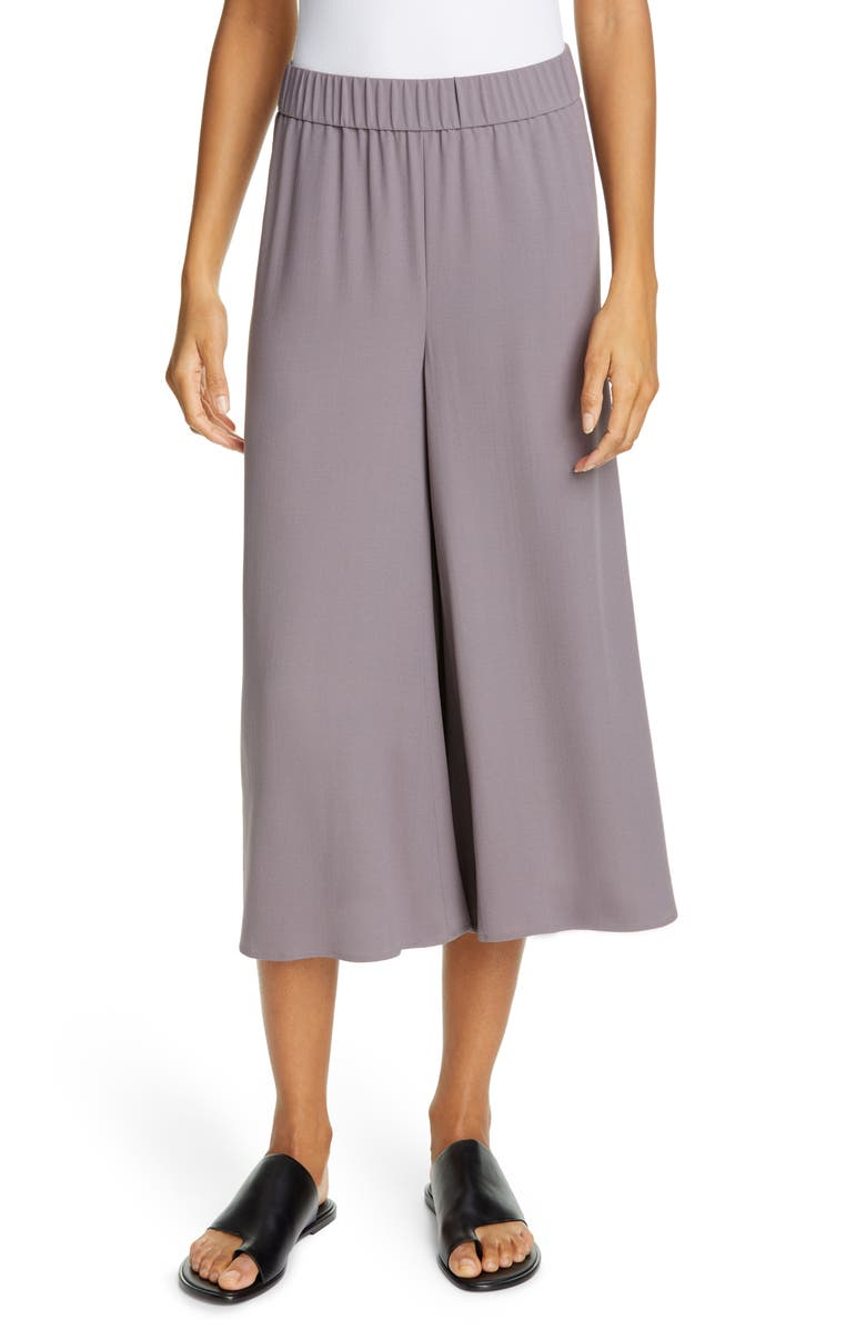 EILEEN FISHER Wide Leg Crop Silk Pants, Main, color, 072