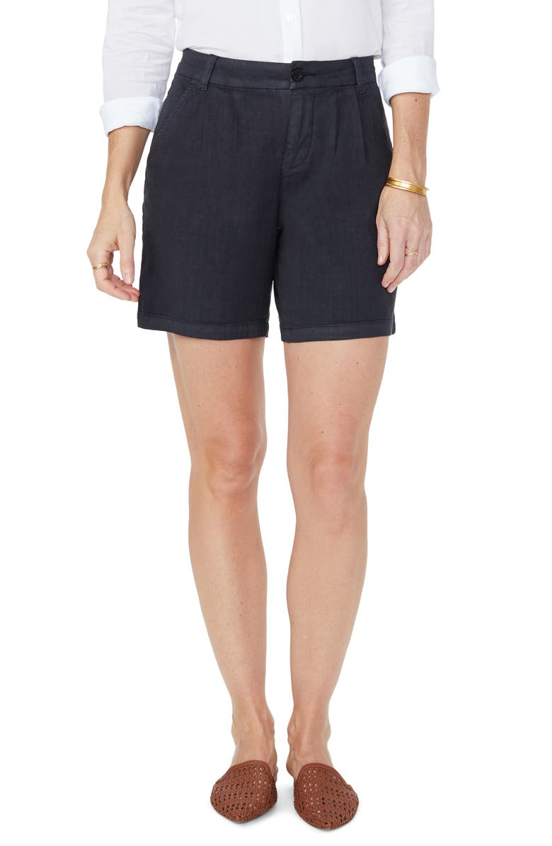 NYDJ Relaxed Pleated Stretch Linen Blend Shorts, Main, color, 001