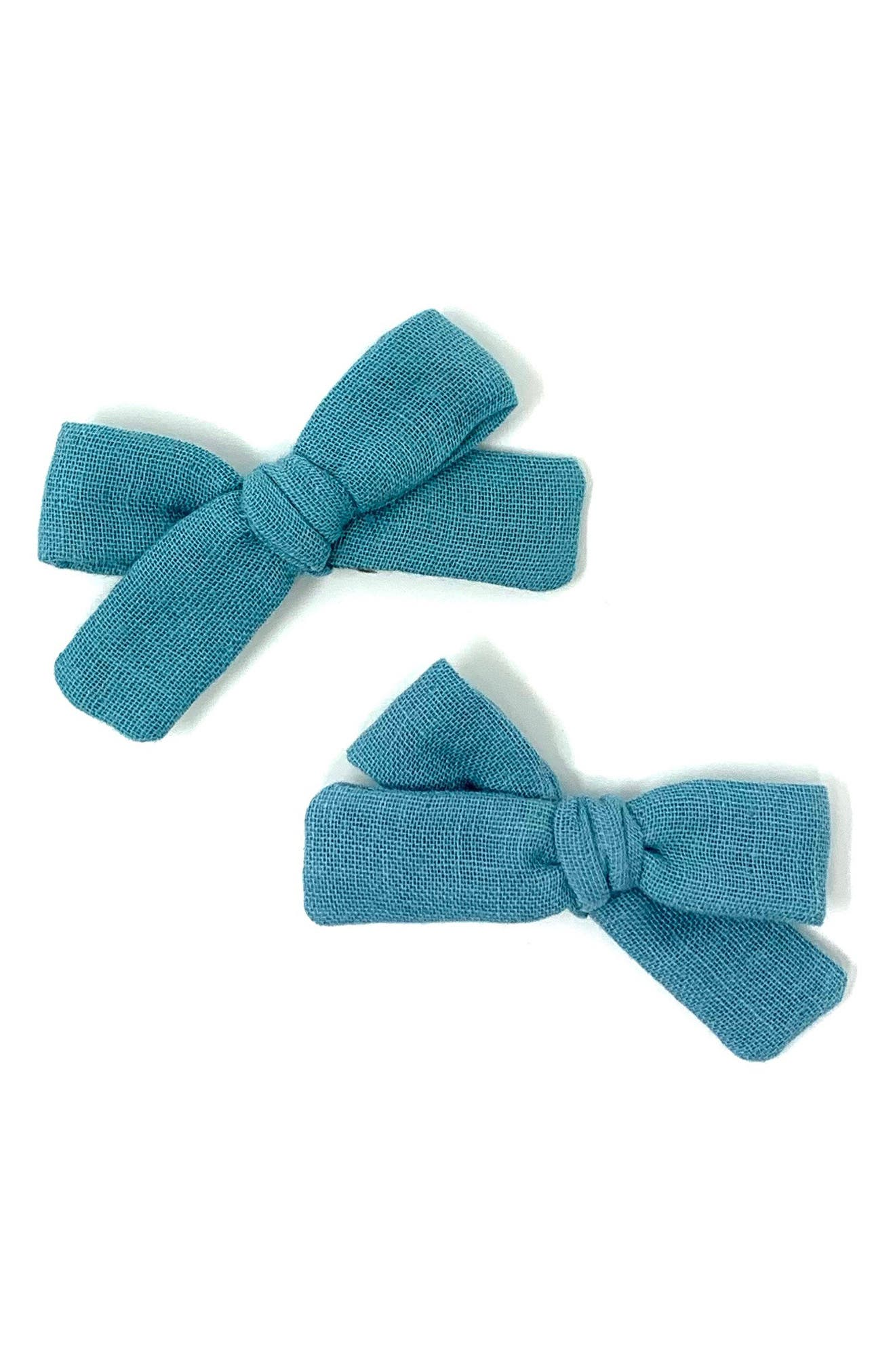 Lululuvs 2Pack Skinny Ribbon Pigtail Bows Hair Clips Size One Size  Blue