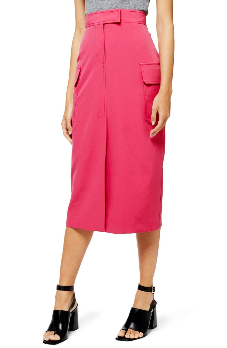 TOPSHOP Utility Midi Skirt, Main, color, PINK
