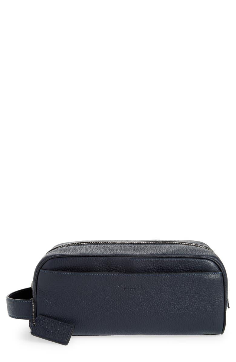 COACH Pebbled Leather Dopp Kit, Main, color, NAVY