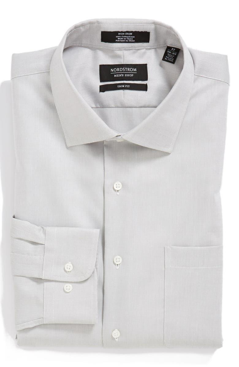 NORDSTROM MEN'S SHOP Trim Fit Non-Iron Piqué Dress Shirt, Main, color, 021