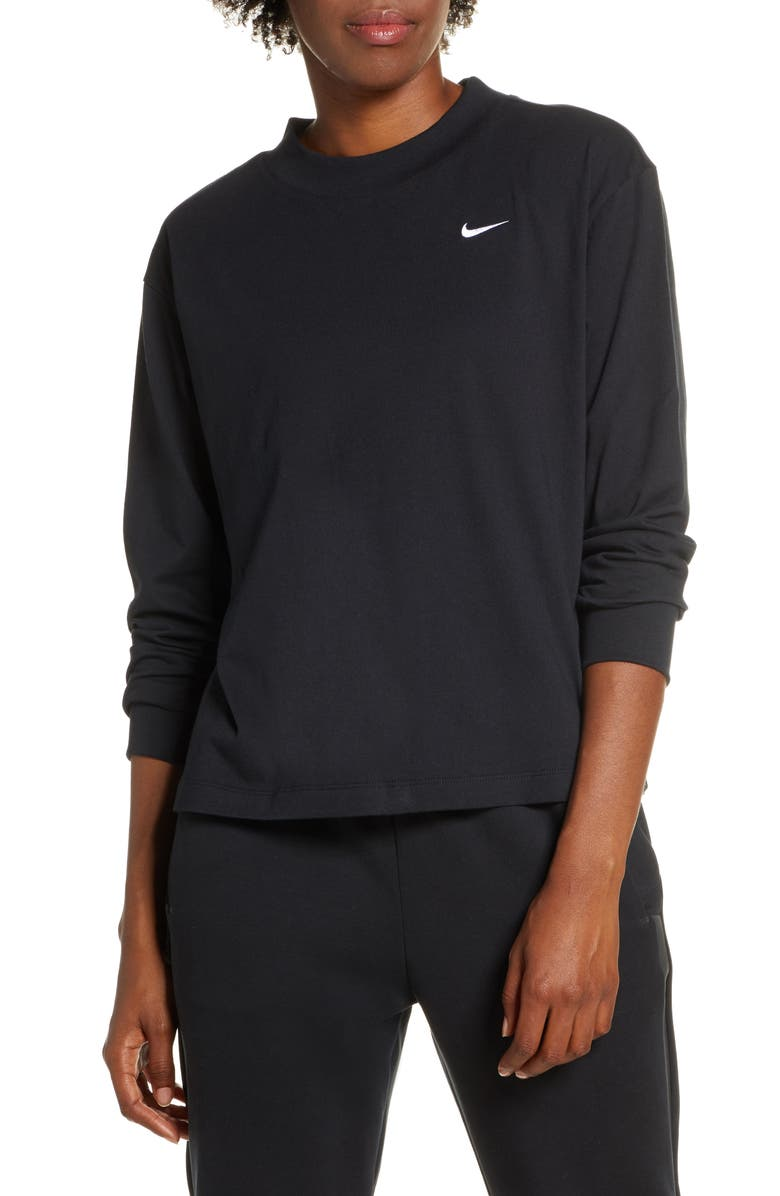 NIKE Essential Mock Neck Long Sleeve Tee, Main, color, BLACK/ WHITE