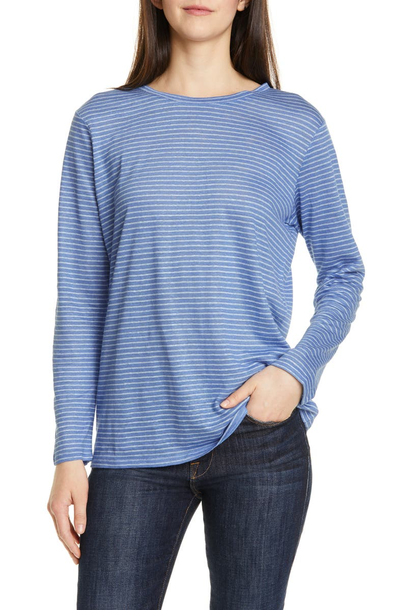 NORDSTROM SIGNATURE Relaxed Tee, Main, color, BLUE- TEAL JACKIE STRIPE