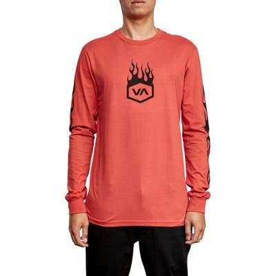 Rvca Forged Long Sleeve T-Shirt, Red