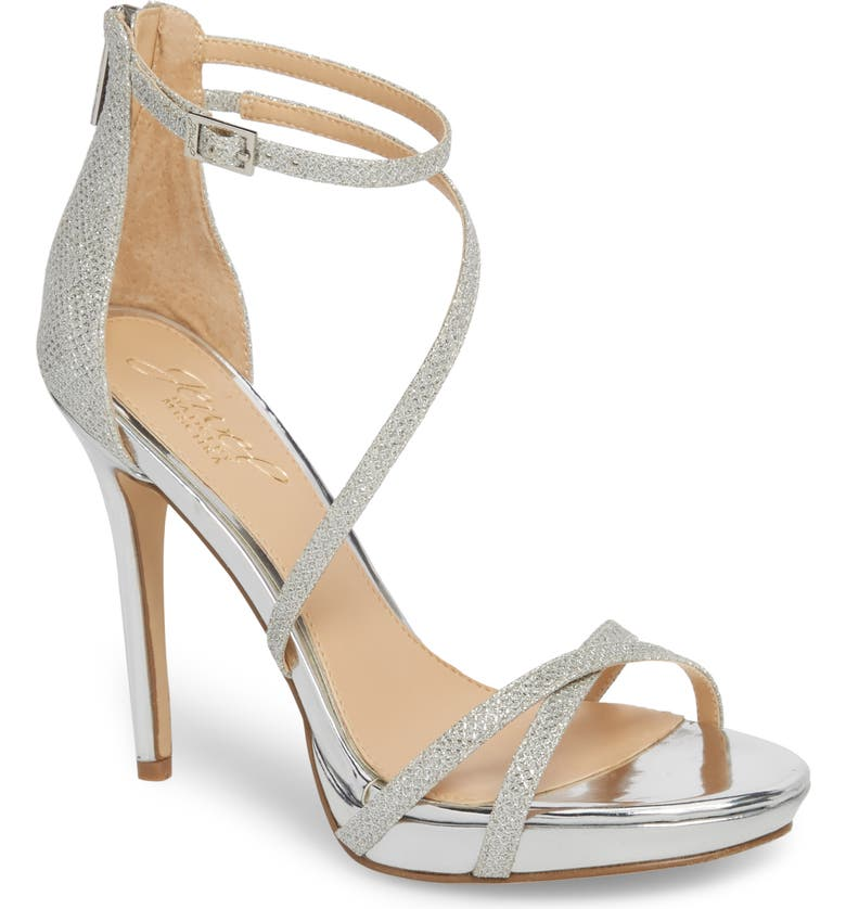 JEWEL BADGLEY MISCHKA Galen Strappy Platform Sandal, Main, color, SILVER GLITTER FABRIC