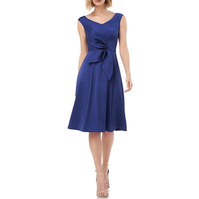 Kay Unger Sleeveless Stretch Mikado Fit & Flare Dress, Blue